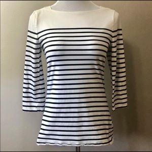 Merona Striped 3/4 Sleeve Boat Neck Top